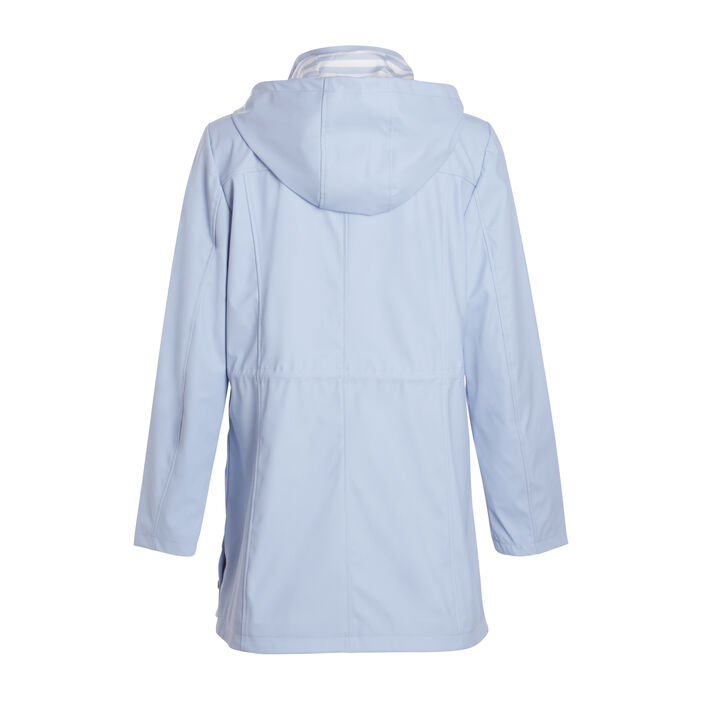 Parka longue coupe ajustée bleu gris femme