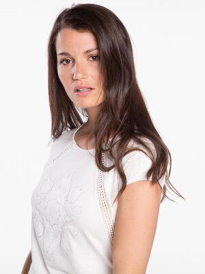 T shirt manches courtes avec dentelle ecru femme