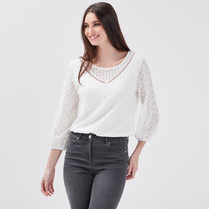 T-shirt manches 3/4 ecru femme