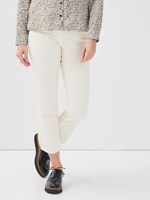 Pantalon evase taille basculee creme femme