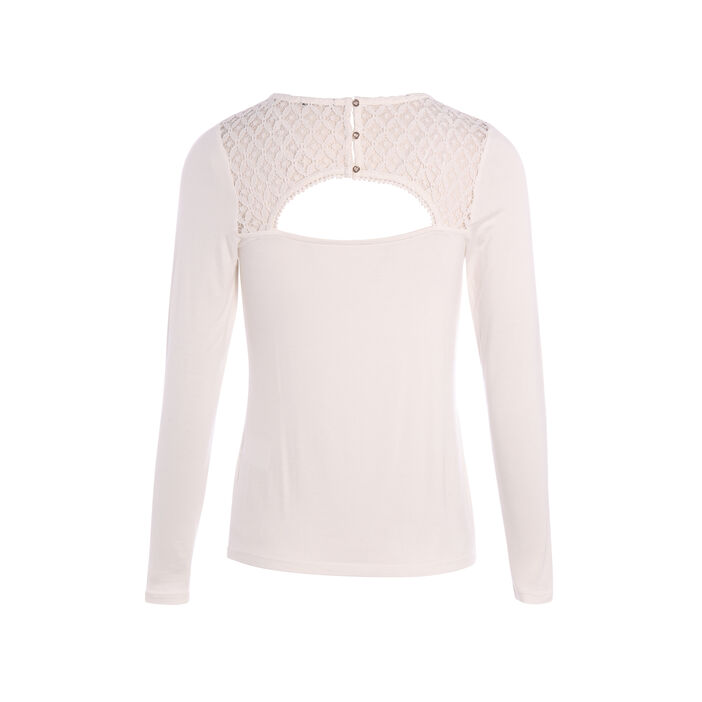 T-shirt avec dentelle en haut du dos ecru femme