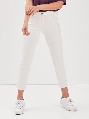 Pantalon droit taille basculee creme femme