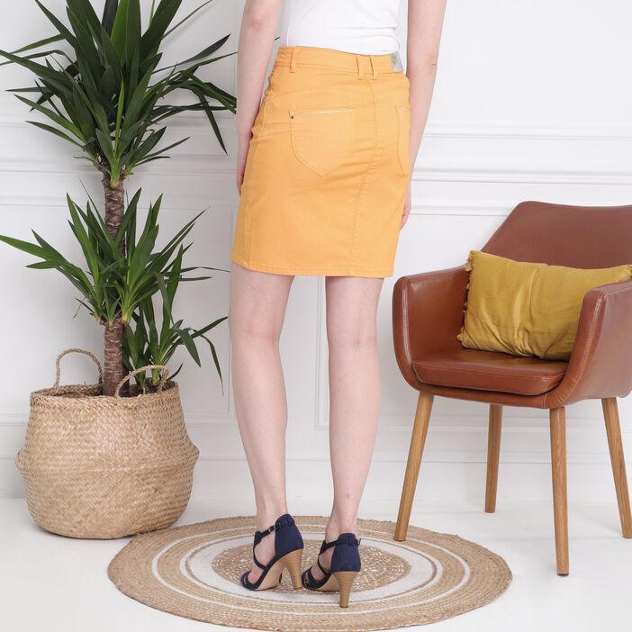 Jupe droite à strass jaune or femme