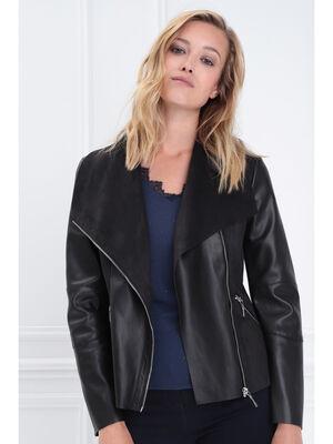 Veste cintree esprit motard noir femme