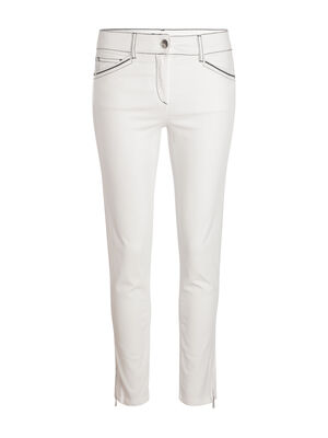 Pantalon ajuste 5 poches ecru femme