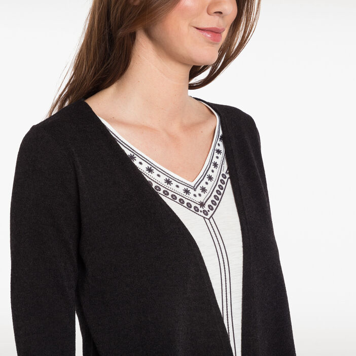 T-shirt façon 2 en 1 noir femme