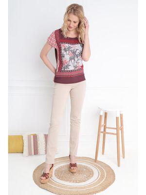 T shirt manches courte boutons dos marron fonce femme