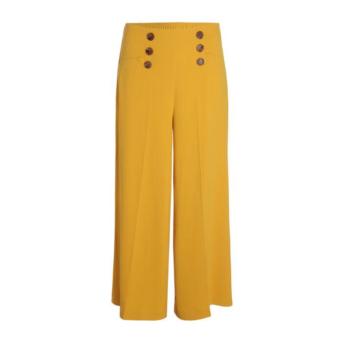 Pantalon large jaune or femme