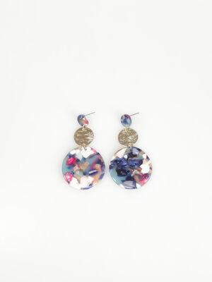 Boucles doreilles disques bleu marine femme