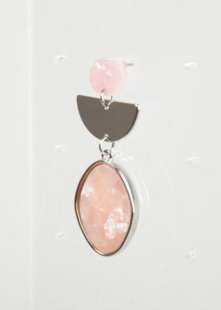 Boucles doreille pendantes rose clair femme