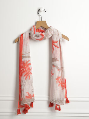 018578018c2 Foulard imprime palmiers orange corail femme