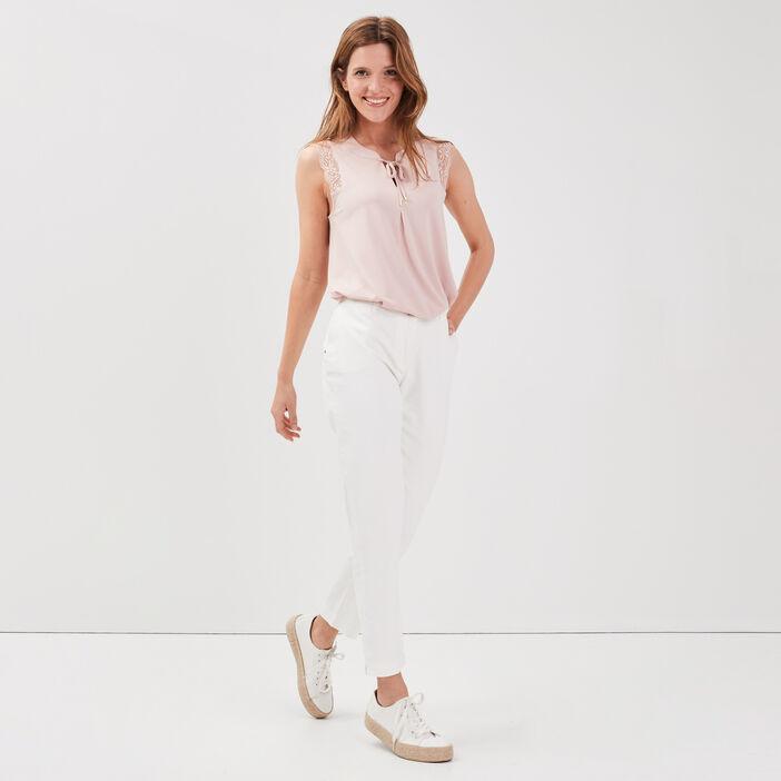 Pantalon droit taille standard blanc femme