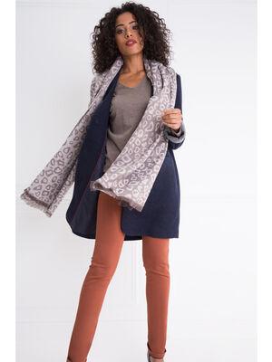 charpe jacquard imprime tachete gris fonce femme