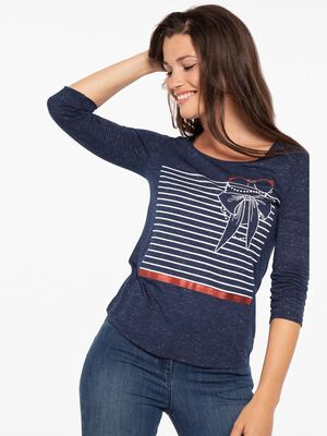 T shirt manches 34 imprime devant bleu fonce femme