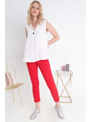 Pantalon chino zippe colore rouge femme