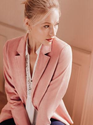 Veste droite esprit tailleur rose femme