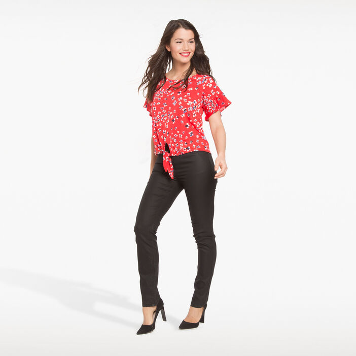 T-shirt imprimé fleuri pop rouge corail femme