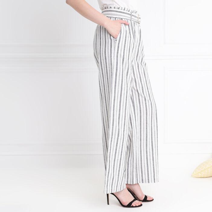 Pantalon taille standard ivoire femme
