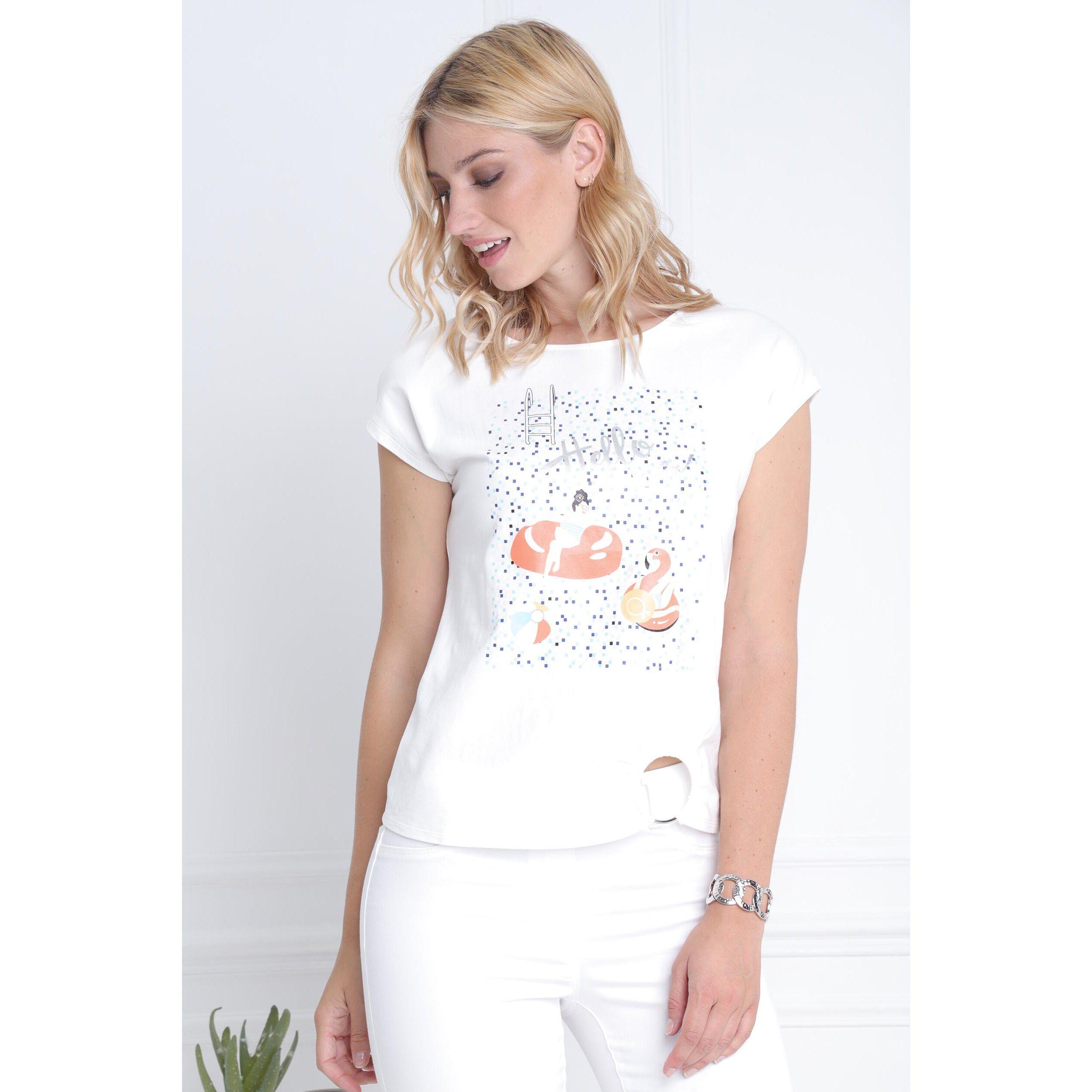 Manches Bouton FemmeBréal Chemise Blanc Col Sans 3FcKTul1J
