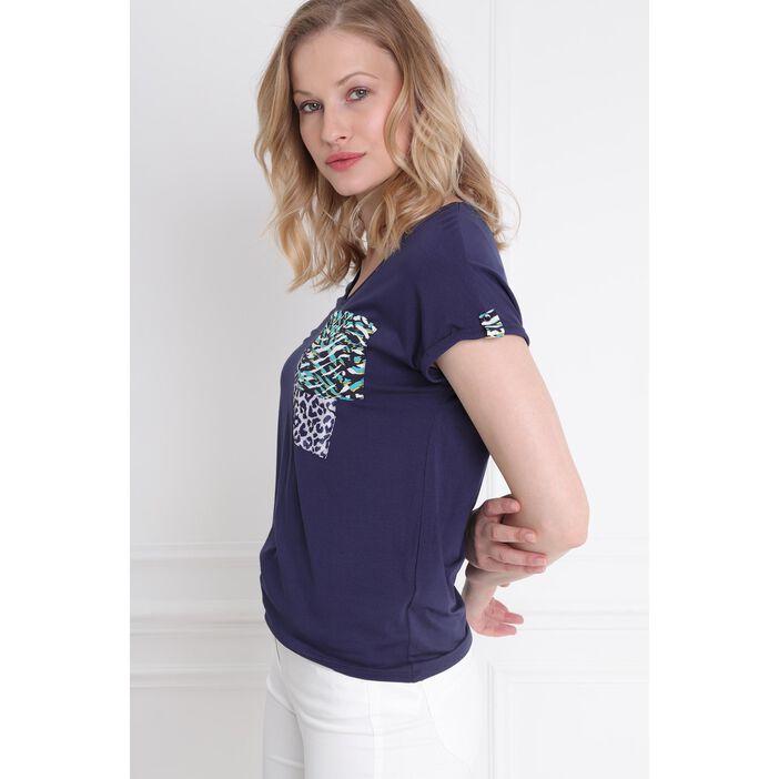T-shirt manches courtes poches imprimées bleu femme