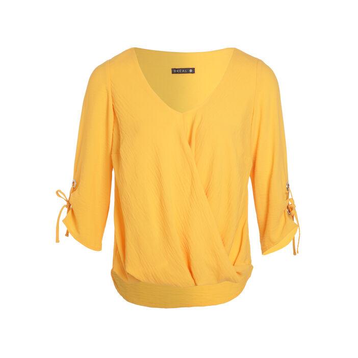 Blouse manches 3/4 drapé orange clair femme