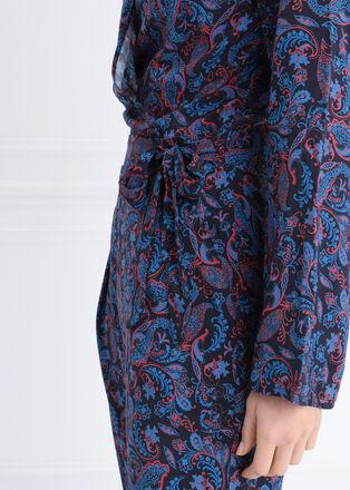 Combinaison pantalon a noeud bleu marine femme