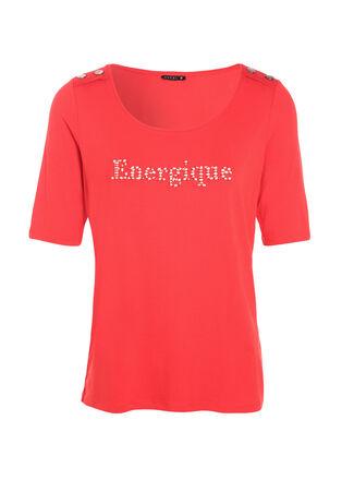 T shirt manches courtes rouge fluo femme