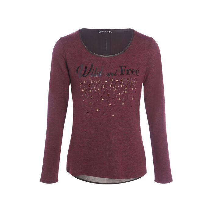 T-shirt maille empiècement voile prune femme