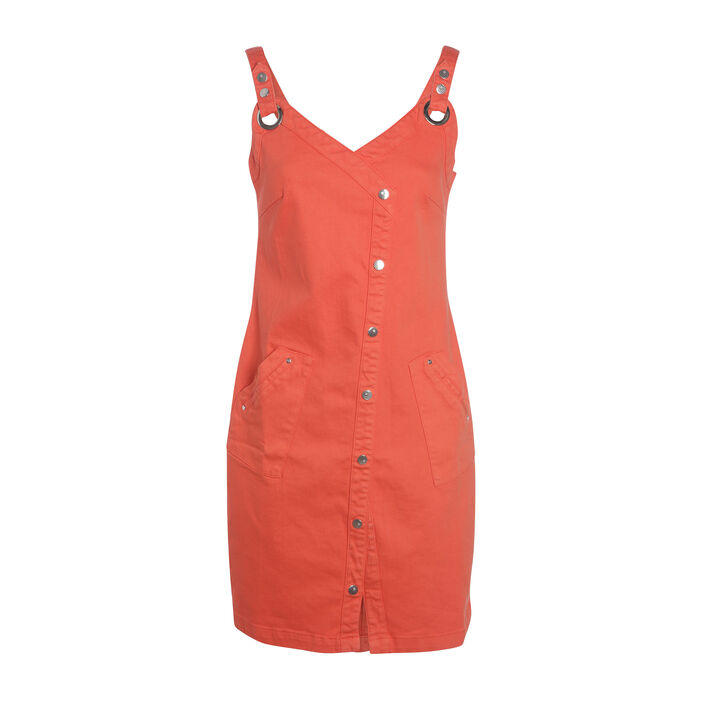 Robe bretelles orange corail femme