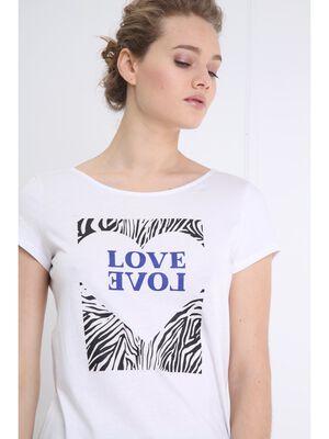 T shirt manches courtes imprime avant ecru femme