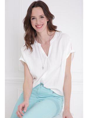 Chemise manches courtes volantees ecru femme