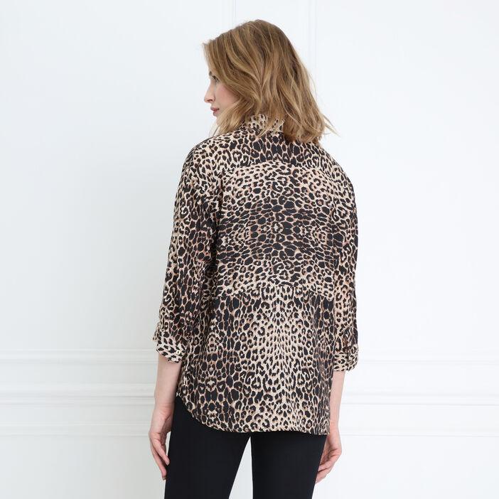Chemise léopard manches 3/4 camel femme