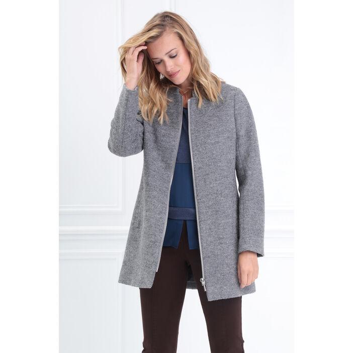 prix compétitif 1b23f 855b7 Manteau long col montant zippé gris clair femme | Bréal