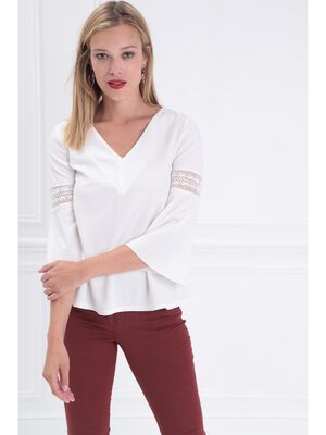 Blouse manches 34 a broderie creme femme
