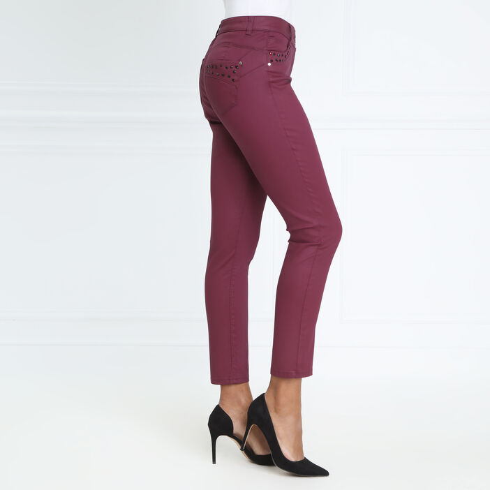 Pantalon taille haute ajusté uni prune femme
