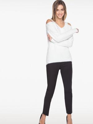 Pantalon uni poches zippees noir femme