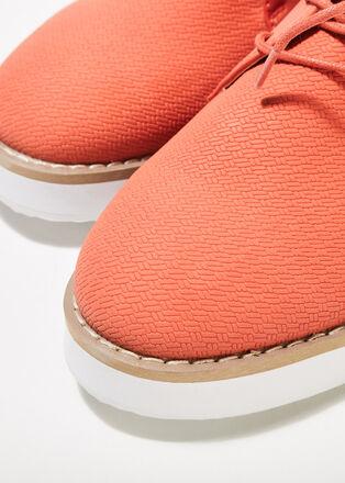 Derbies plates texturees orange corail femme