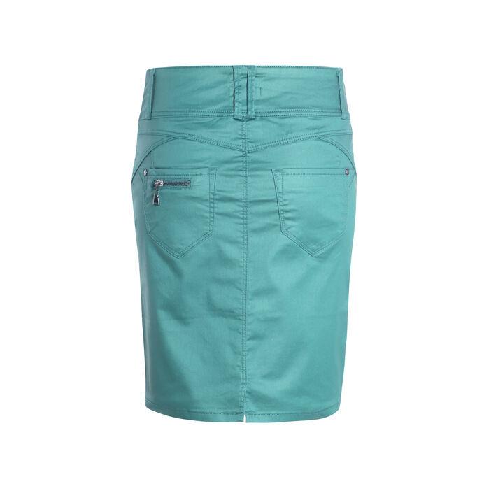 Jupe enduite zippée vert canard femme