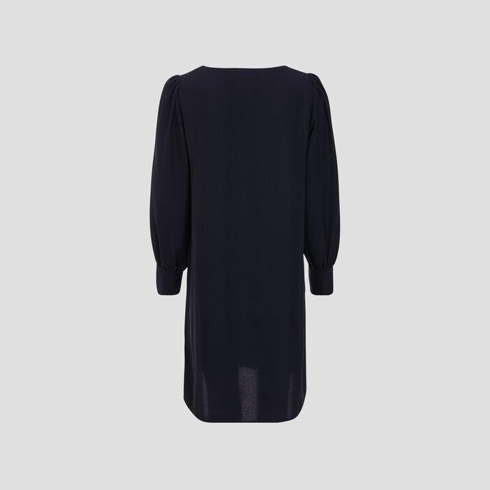 Robe droite avec col en V bleu foncé femme