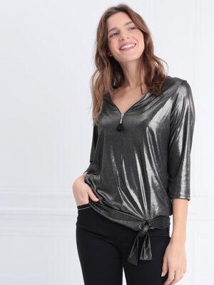 T shirt manches 34 zippe noir femme
