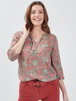 Blouse manches 34 terracotta femme