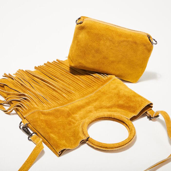 Sac bandoulière en cuir jaune or femme
