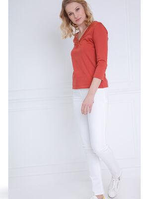 Pantalon ajuste taille haute blanc femme