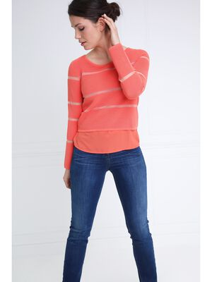 Pull a rayures col rond orange corail femme