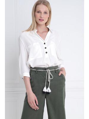 Blouse manches 34 avec poches ecru femme