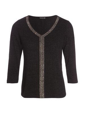 T shirt manches 34 metallise noir femme