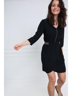 Robe unie details ceinture noir femme