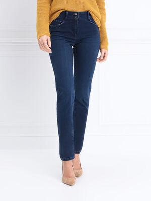Jeans taille basculee clous denim brut femme