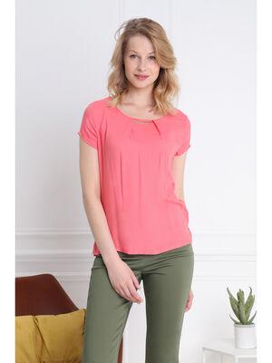 T shirt manches courtes col bijoux orange corail femme