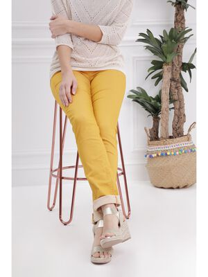 Pantalon ajuste push up jaune or femme